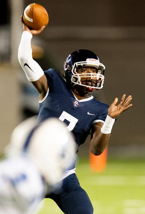 Park Crossing's Trevor Robinson (7) passes against Auburn at the Cramton Bowl in Montgomery, Ala., on Thursday October 31, 2019.