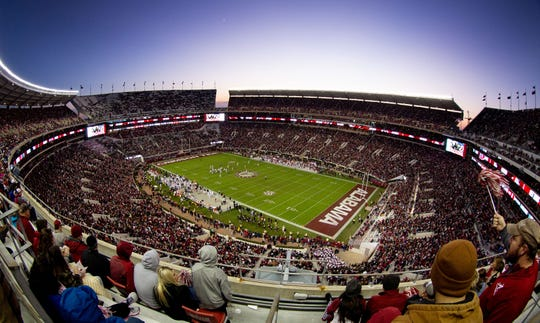 A general view of  Alabama's Bryant-Denny Stadium.