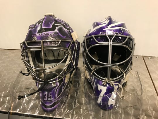 Pekka Rinne and Juuse Saros have 'Hockey Fights Cancer' masks they will wear. The masks eventually will be auctioned off.
