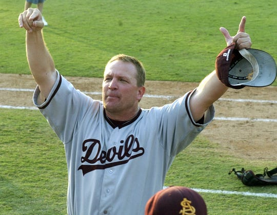 Head coach Pat Murphy of the Arizona State Sun Devils celebrates a trip to the College World Series after 9-8 victory in the NCAA Fullerton SuperRegional of the 4th ranked Cal State Fullerton vs the 17th ranked Arizona State at Goodwin Field on June 12, 2005.