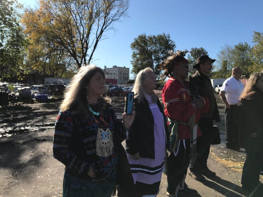 Members of the Ramapough Lenape Nation at Friday's groundbreaking.