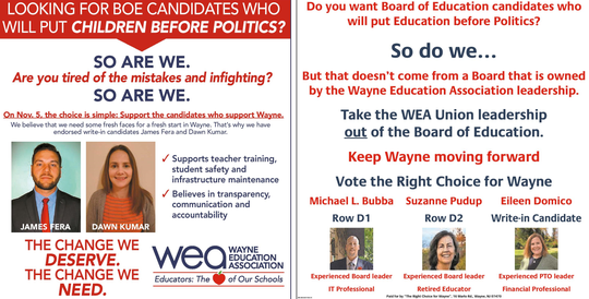 Competing full-page ads supporting school board candidates were published in the Oct. 31 edition of Wayne Today.