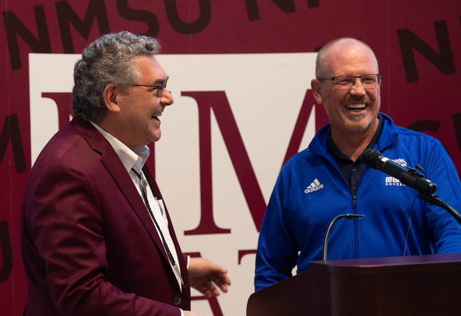 New Mexico State University President John Floros,  talks with Jeff Thompson, recruitment director for University Degrees Abroad, after announcing an agreement between NMSU and UDA, where NMSU will house a UDA mens soccer team as a club sport at NMSU. October 31, 2019.