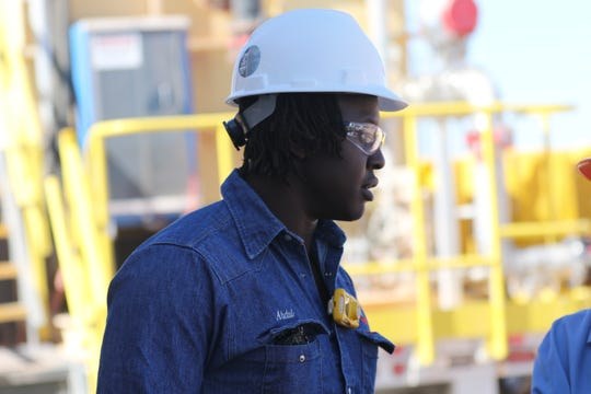 Abdul Sule, Permian water operations supervisor at Chevron oversees a water recycling facility, Nov. 1, 2019 in southern Lea County.