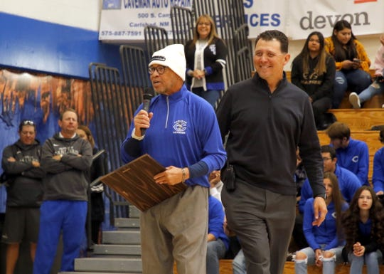 Tyrone Smith speaks to CHS during the pep rally on Nov. 1, 2019. Smith was one of the three Carlsbad alumni named to the 2019 Carlsbad High School Hall of Fame for his track and field achievements in high school and college.