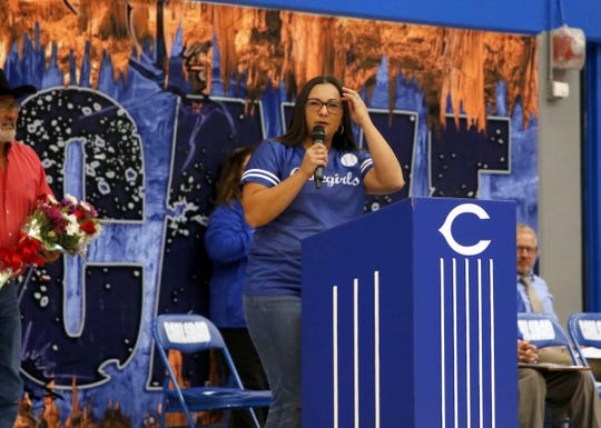 Cassie Calderon speaks to CHS during the pep rally on Nov. 1, 2019. Calderon was one of the three Carlsbad alumni named to the 2019 Carlsbad High School Hall of Fame for her softball achievements in high school and college.
