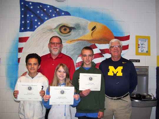 Alamogordo Kiwanis Club honors October's Most Improved Students. Front row:  Seventh grader Kellen Buss,  sixth grader KayDee Lawhorn,  eighth grader Samuel Frank Back row:  Principal Dr. Joe Keith, and Ned Kline (Kiwanis)