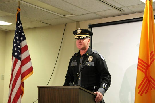 New Mexico State Police Chief Tim Johnson at a press conference at the NMSP office in Alamogordo Nov. 1
