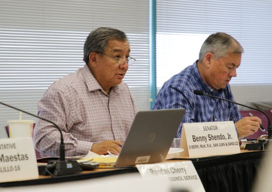 "State Sen. Benny Shendo Jr. comments after listening to a report by Diné College President Charles ""Monty"" Roessel during the New Mexico Rural and Economic Development Committee meeting on Oct. 30 at San Juan College."