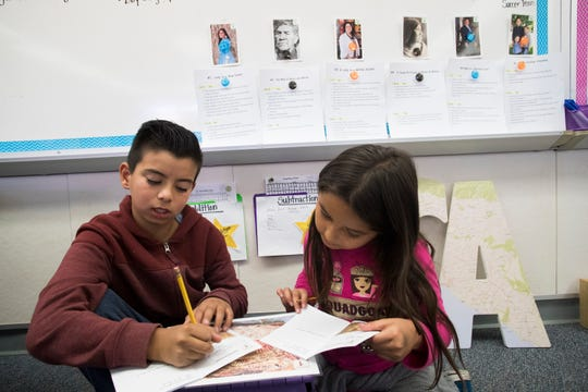 Sunny Sands Elementary School third graders Alexis Torres and Valerie Delgadillo learn about the Cahuilla indigenous people of the desert during a curriculum at their school on November 1, 2019.