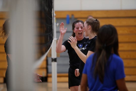 Desert Christian Academy girl's volleyball team practices in Bermuda Dune on October 31, 2019.
