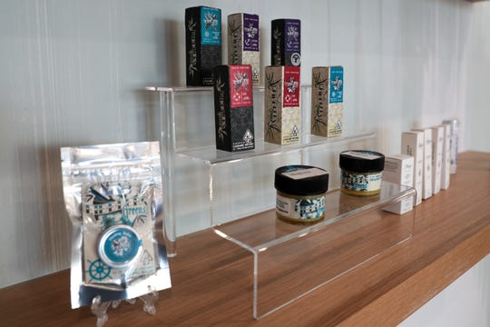 Fiddler's Greens products sit on the shelf at Lighthouse Dispensary on Friday, November 1, 2019 in Palm Springs, Calif.