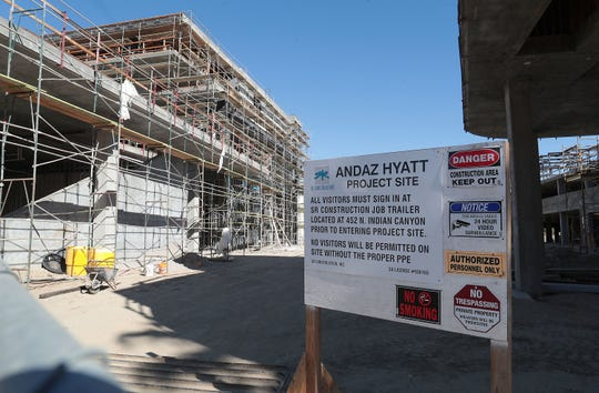 The Andaz Palm Springs project in downtown Palm Springs is still under construction, however there was no visible construction activity, November 1, 2019.