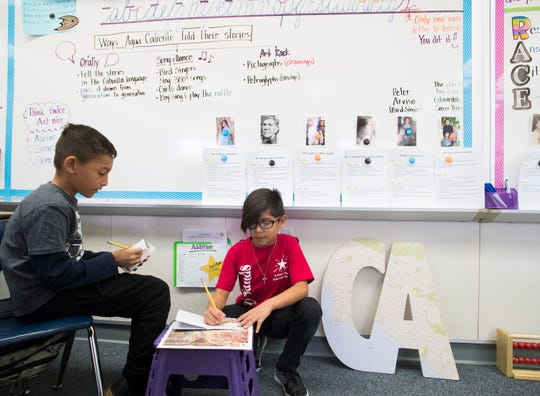 Sunny Sands Elementary School third graders from left, Eduardo Perez and Alexis Stacklie learn about the Cahuilla indigenous people of the desert during a curriculum at their school on November 1, 2019.