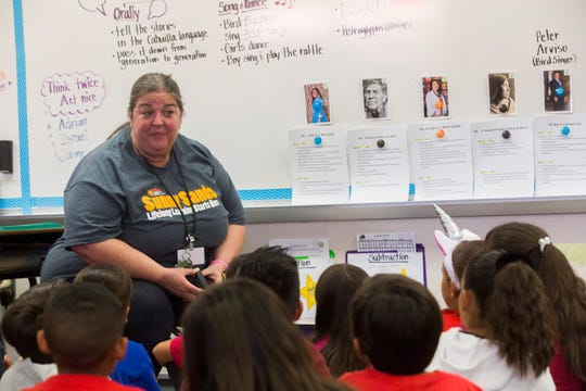 Sunny Sands Elementary School third grade teacher Ramona Frost, teaches her pupils about the Cahuilla indigenous people of the desert during a curriculum at their school on November 1, 2019.