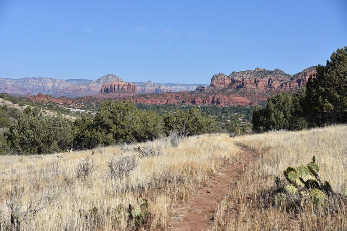 Sedona's red rocks as seen from the high point of Kel Fox Trail.