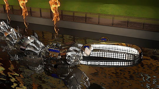 """""""Water Serpent"""" is a 200-foot-long, floating sculpture that shoots out fire along its metallic spine and spits sparks from its mouth."""