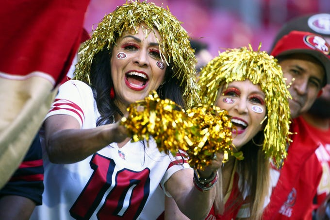 San Francisco 49ers fans wears a halloween costume at State Farm Stadium at the Arizona Cardinals game during Thursday Night Football on Oct. 31, 2019 in Glendale, Ariz.