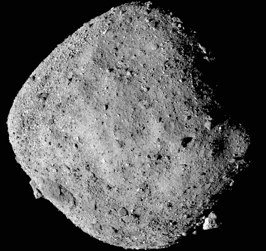 This mosaic image of asteroid Bennu is composed of 12 PolyCam images collected on Dec. 2, 2018, by the OSIRIS-REx spacecraft from a range of 15 miles (24 km).