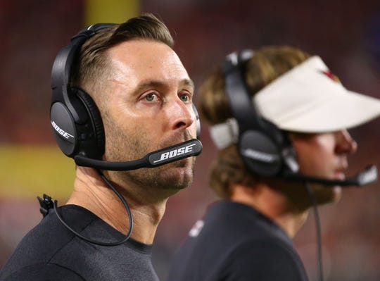 Arizona Cardinals head coach Kliff Kingsbury against the San Francisco 49ers in the second half during a game on Oct. 31, 2019 in Glendale, Ariz.