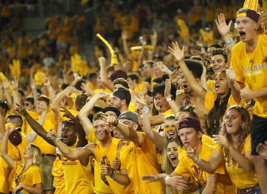 Arizona State University fans cheer after a touchdown during a game against Colorado University at Sun Devil Stadium on September 21, 2019.