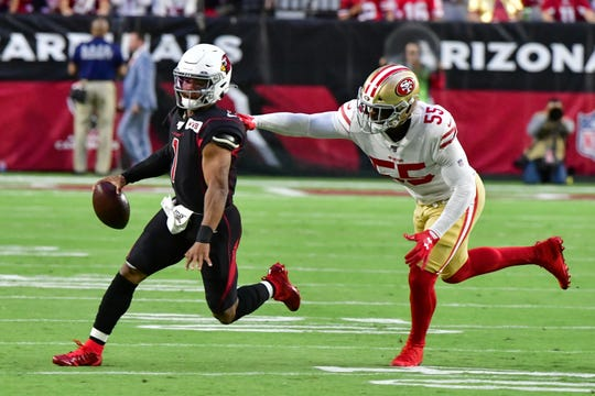 Cardinals quarterback Kyler Murray is sacked by 49ers defensive end Dee Ford during a game on Oct. 31 at State Farm Stadium.