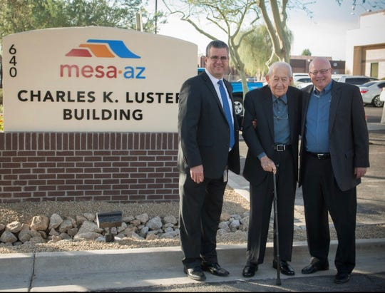 Mesa's three most recent city managers, from left to right Chris Brady, Charles Luster and Mike Hutchinson, at the 2015 dedication ceremony for the Charles K. Luster building.