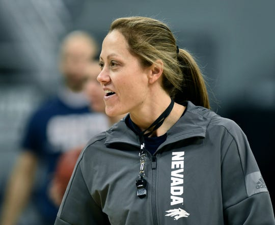 Nevada womens basketball coach Amanda Levens cheers her team on as they perform drills during media day at Lawlor Events Center on Thursday Oct. 31, 2019.