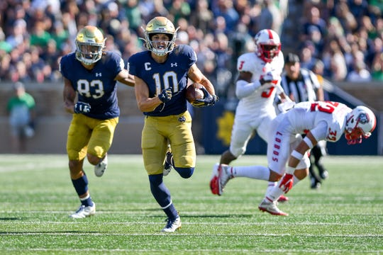 Notre Dame receiver Chris Finke runs for a touchdown against New Mexico during the teams' game in September.