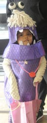 Aubri Dunn, 4, dressed as a Monsters, Inc. character.