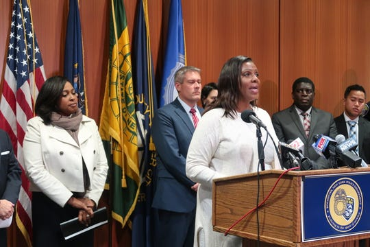 State Attorney General Letitia James announces $163,000 in funding for the Rochester Police Department and Monroe County Sheriff's Office to purchase body-worn cameras Friday in downtown Rochester.