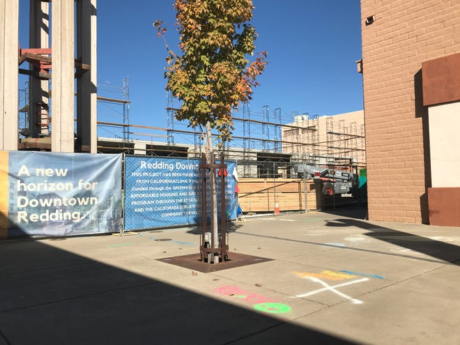 The green marking by the big white X marks the spot where the Redding Christmas tree will move this year. The tree was forced to move due to the demolition of the downtown parking structure, where it had been for some 40 years.