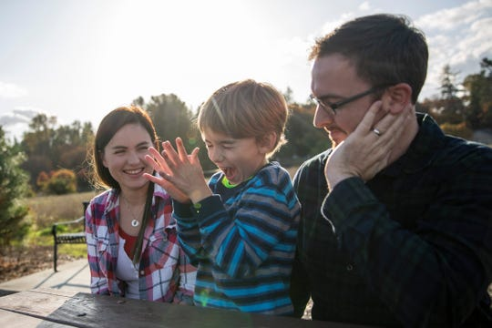 "Simon's parents, Amanda and Jeffrey Watson, talk with him about how he memorizes lines for the play ""Mothers and Sons"", at Keizer Rapids Park on October 26."