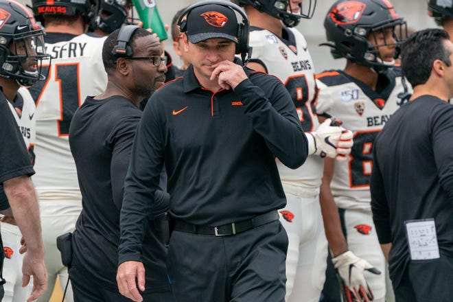 Oct 19, 2019; Berkeley, CA, USA; Oregon State Beavers head coach Jonathan Smith reacts after the call during the second quarter against the California Golden Bears at California Memorial Stadium. Mandatory Credit: Neville E. Guard-USA TODAY Sports