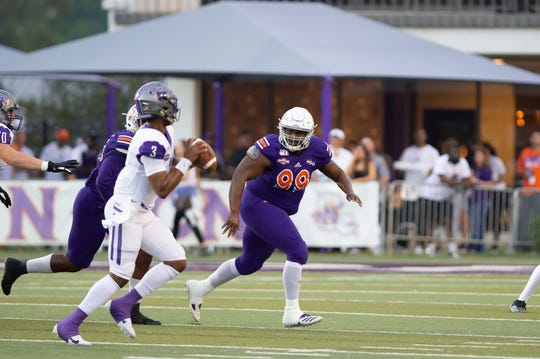 Damian Thompson (99) and the Northwestern State defense have forced seven turnovers in the past two games.