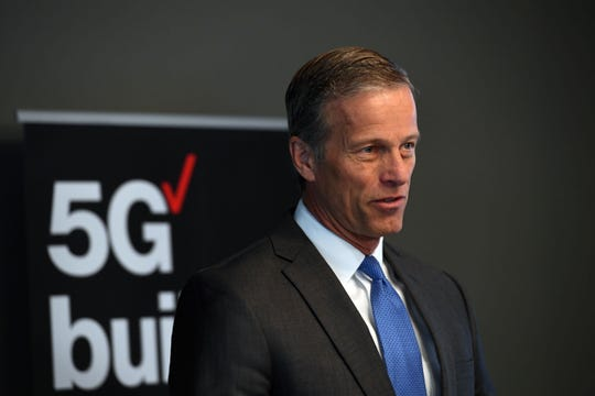 Senator John Thune speaks at a press conference announcing the 5G launch in Sioux Falls on Friday, November 1, at DocuTAP.