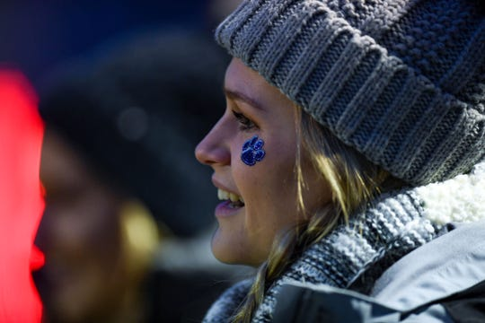 Burke student Taylee Indahl watches the game against Britton-Hecla during the class 9A quarterfinals on Thursday, October 31, in Britton.