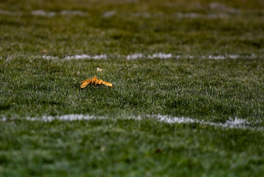 A flag is tossed onto the field during Burke and Britton-Hecla's game in the class 9A quarterfinals on Thursday, October 31, in Britton.