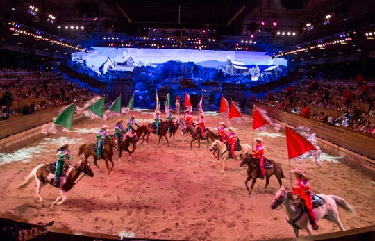 """Christmas at Dolly Parton's Stampede"" transforms the Branson attraction into a holiday spectacle."
