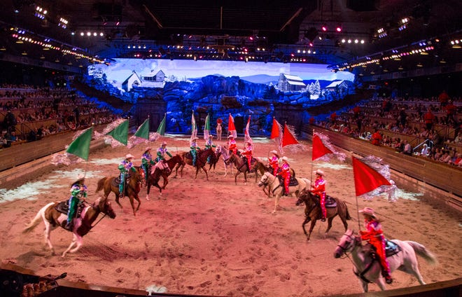 """""""Christmas at Dolly Parton's Stampede"""" transforms the Branson attraction into a holiday spectacle."""