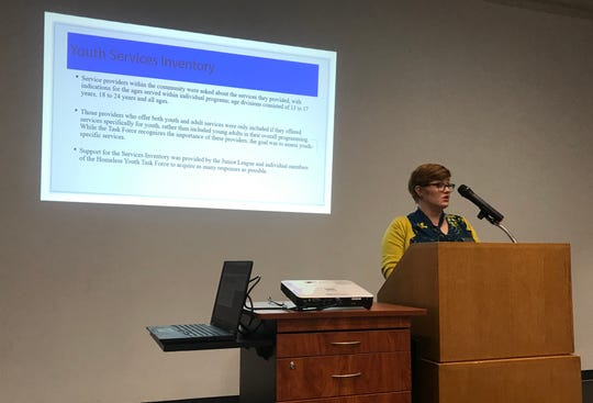 Michelle Hethcoat, Special Project Coordinator with Community Partnership of the Ozarks, spoke about the 2019 High Risk and Homeless Youth Gaps Analysis at a press conference Friday.