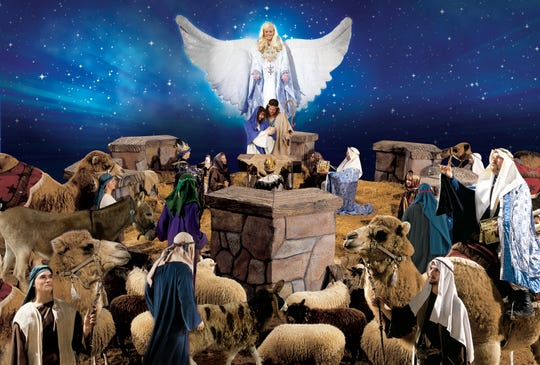 "A living Nativity with Mary, Joseph, the Three Wise Men atop real camels and more bring the meaning of the season to ""Christmas at Dolly Parton's Stampede."""
