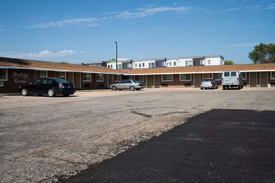 A motel in Marshall, Minn., where Courtney Zakauska stayed in a room provided by United Community Action Partnership is seen on Tuesday, Sept. 17, 2019. (Evan Frost/Minnesota Public Radio via AP)