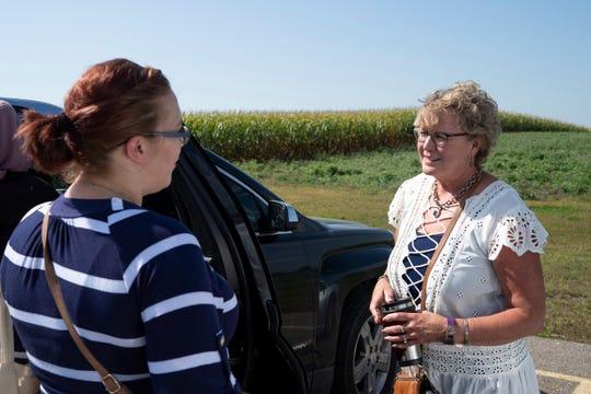 Courtney Zakauska says goodbye to Jeannie Antony, her former case worker, outside of the Community Action Partnership in Marshall, Minn., on Tuesday, Sept. 27, 2019.(Evan Frost/Minnesota Public Radio via AP)