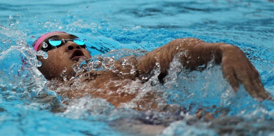 Chiles junior Alexander Yuan swims backstroke during the 200 IM at the District 2-3A meet at Morcom Aquatics Center on Tuesday, Oct. 29, 2019.