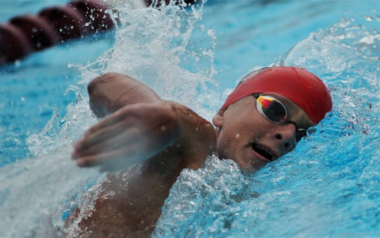 Leon sophomore Zach Juhlin swims freestyle during the 200 IM at the District 2-3A meet at Morcom Aquatics Center on Tuesday, Oct. 29, 2019.
