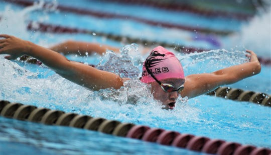 Chiles sophomore Lydia Hanlon swims butterfly at the District 2-3A meet at Morcom Aquatics Center on Tuesday, Oct. 29, 2019.