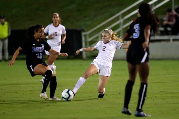 Florida State Seminoles Jenna Nighswonger (2) steals the ball from her opponent. The Seminoles beat the Duke Blue Devils 1-0 on Thursday, Oct. 31, 2019.