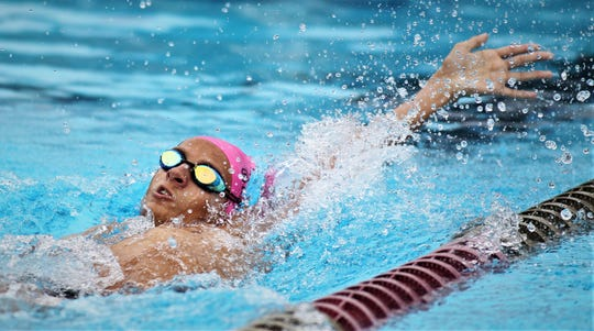 Chiles senior Ben Wurgler swims backstroke at the District 2-3A meet at Morcom Aquatics Center on Tuesday, Oct. 29, 2019.