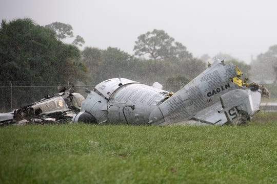 One pilot is confirmed dead in a single-plane crash ahead of the start of the Stuart Air Show on Friday, Nov. 1, 2019, at Witham Field in Stuart. The plane, a Grumann OV-1 Mohawk, was a twin-engine turboprop armed military observation and attack aircraft set to perform in the air show.